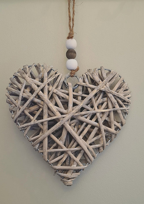 Large Hanging Wicker Heart With Wooden Beads - Grey Wash