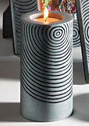 Handcarved soapstone cylindrical tealight holder