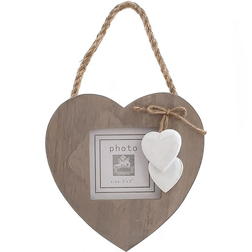 Rustic Wooden Heart Photo Frame