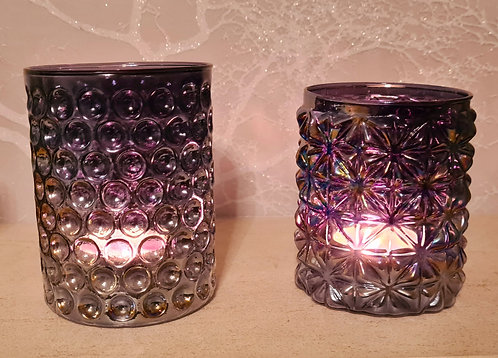 Glass Tea-Light Holder (slight iridescent rainbow effect)