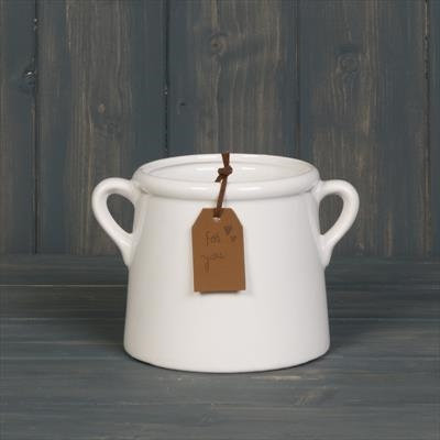 White Pot with Double Handles - 10cm