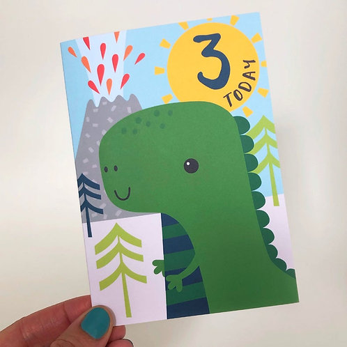 3 Today! Kids Dinosaur Happy Birthday Card