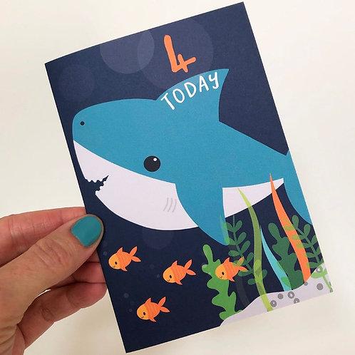 4 Today! Kids Shark Happy Birthday Card