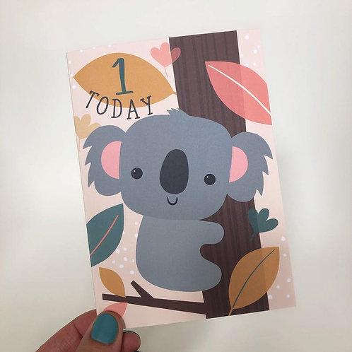 1 Today! Kids Koala Happy Birthday Card