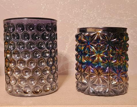 Glass Tea-Light Holder (slight iridescent rainbow effect)