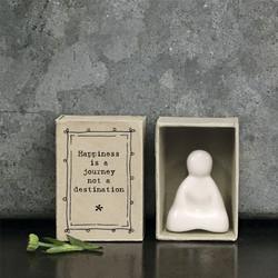 Matchbox Porcelain Buddha - 'Happiness is a Journey'