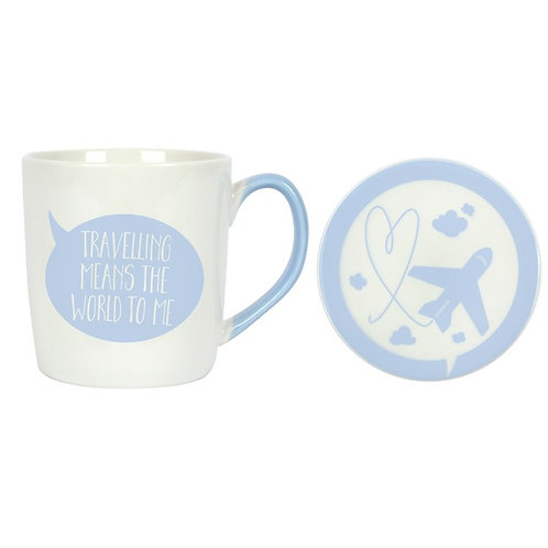 'Travelling Means The World To Me'.. Mug & Coaster set