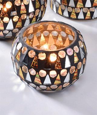 Round glass mosaic votive holder