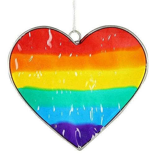 Rainbow heart suncatcher