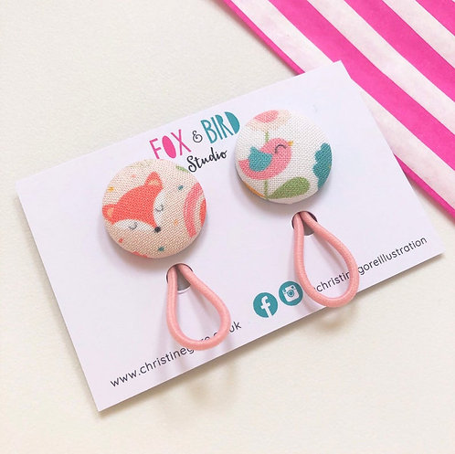 2 Fox & Bird fabric covered button hair bobbles