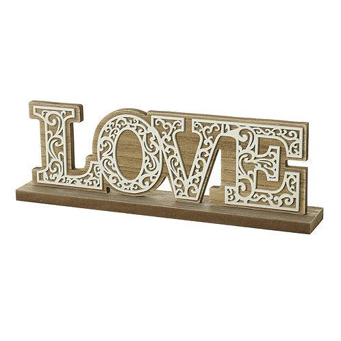 Wood Filigree Love Sign
