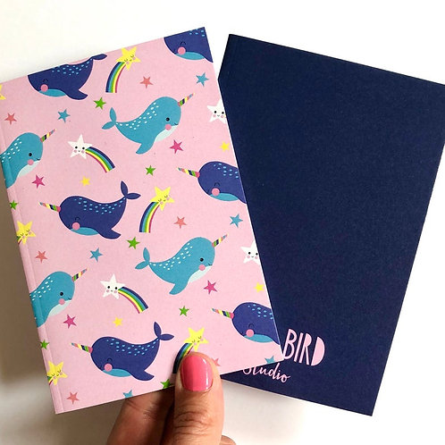 Narwhal A6 Lined Notebooks. Set of 2
