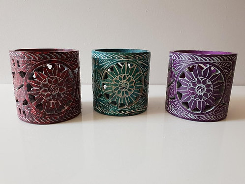 Soapstone Floral Design Tealight Holder