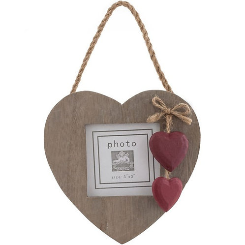 Rustic Wooden Heart Photo Frame With Red Hearts