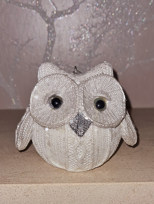 White Knitted Owl Sitting Down