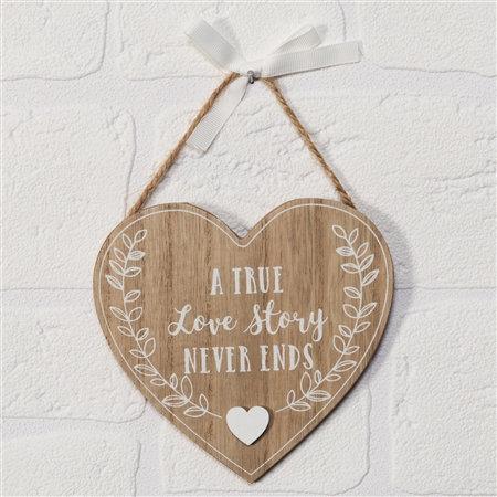 'Love Story' Shabby Chic Hanging Heart