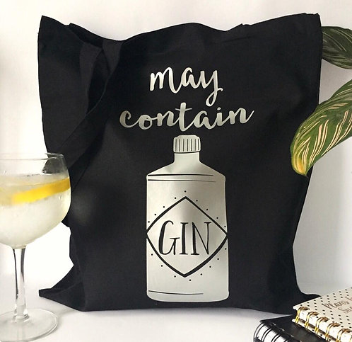 'May Contain Gin Tote Bag - Silver coloured foil