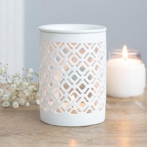 White Matte Lattice Ceramic Wax Melt / Oil Burner