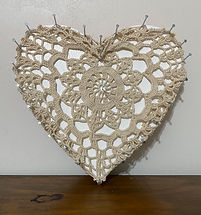 Home (2020) | wood, textile, steel, acrylic | sculpture by artist, Bojana Randall | heart art