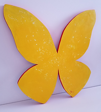 Camium Yellow | abstract butterfly wall sculpture painting by Bojana Randall