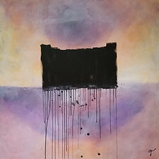 Dark Castle | abstract castle acrylic painting by Bojana Randall