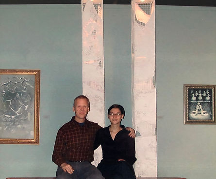 sculptor, Bojana Randall and painter, Stephen Rice in front of Towers of a Thousand Faces (2002) at The Paterson Museum, NJ
