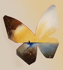 Relic | abstract butterfly wall sculpture painting by Bojana Randall