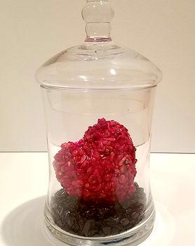 The Return | Jar of Hearts sculpture series by Bojana Randall | coral heart on blue goldstone