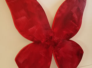Alizarin Crimson | abstract butterfly wall sculpture painting by Bojana Randall