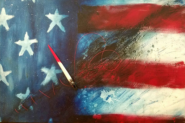 Merica (2012-16) | acrylic, wire, wood, canvas | mixed media painting by artist, Bojana Randall | American flag art, we the people art