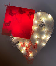 Found (2020) | wood, steel, LEDs, accrylic, paper | wall sculpture by artist, Bojana Randall | heart art, butterfly art