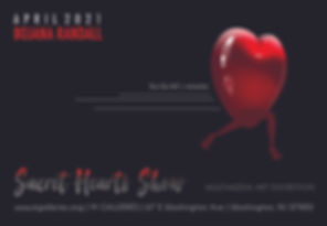 Announcement for solo art exhibition and installation by artist, Bojana Randall | Sacret Hearts Show | M Galleries | April 2021 | multimedia art show revolving around the iconic heart