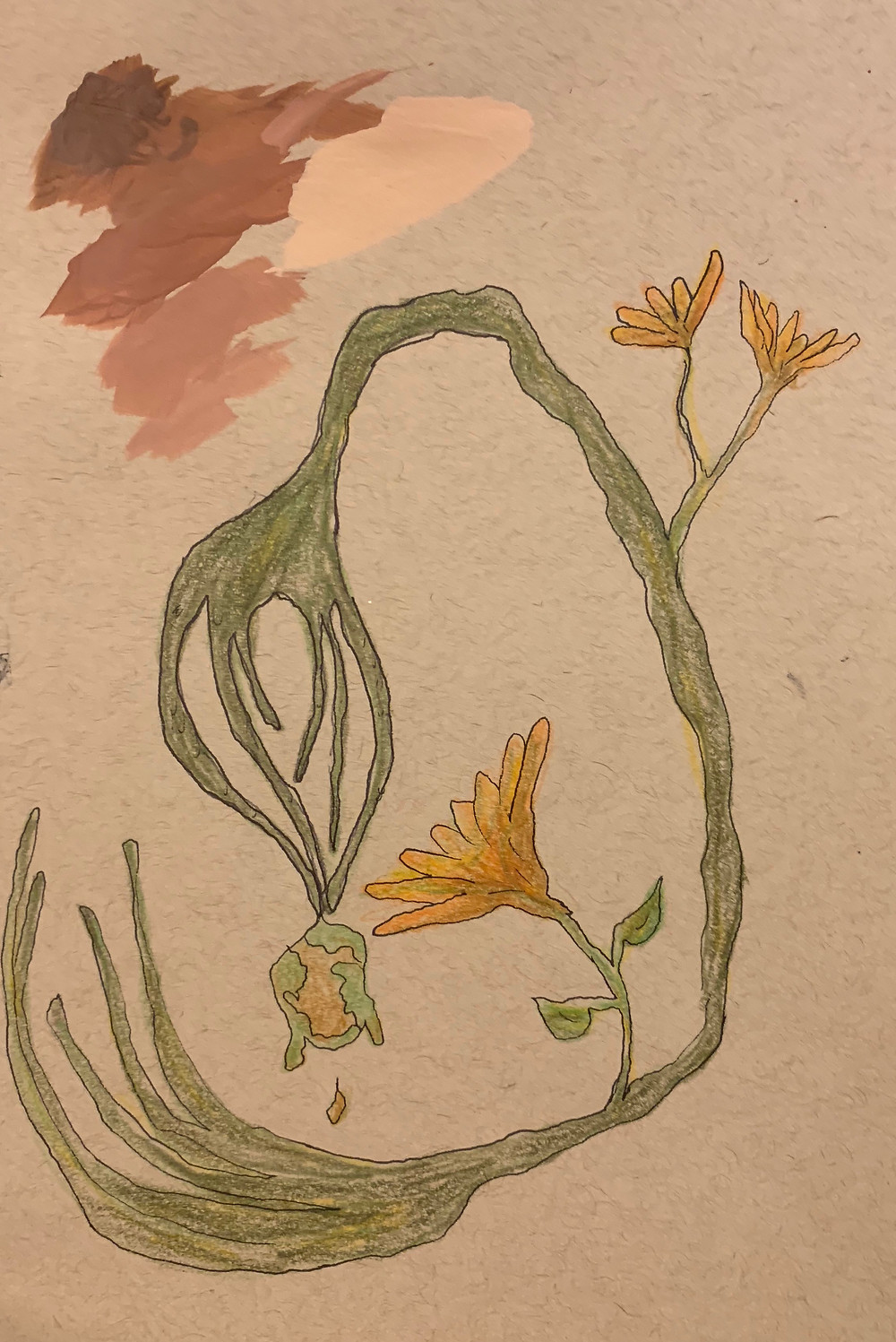 The form now has rounded fingers, growing flowers and is catching the Earth as it's falling apart.