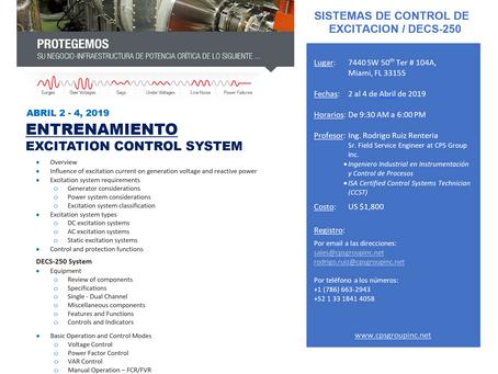 """Entrenamiento """"SISTEMAS DE CONTROL DE EXCITACION / DECS-250"""""""