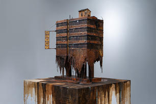 Memories Melting 回憶融化, 2021,Mixed media on wood and resin, 48 by 58 by 41 cm