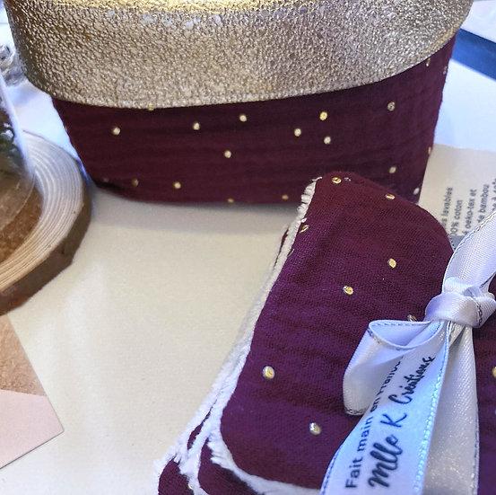 lingettes démaquillantes lavables double gaze de coton à pois doré bordeaux