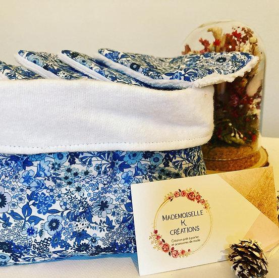 lingettes lavables panier en tissu