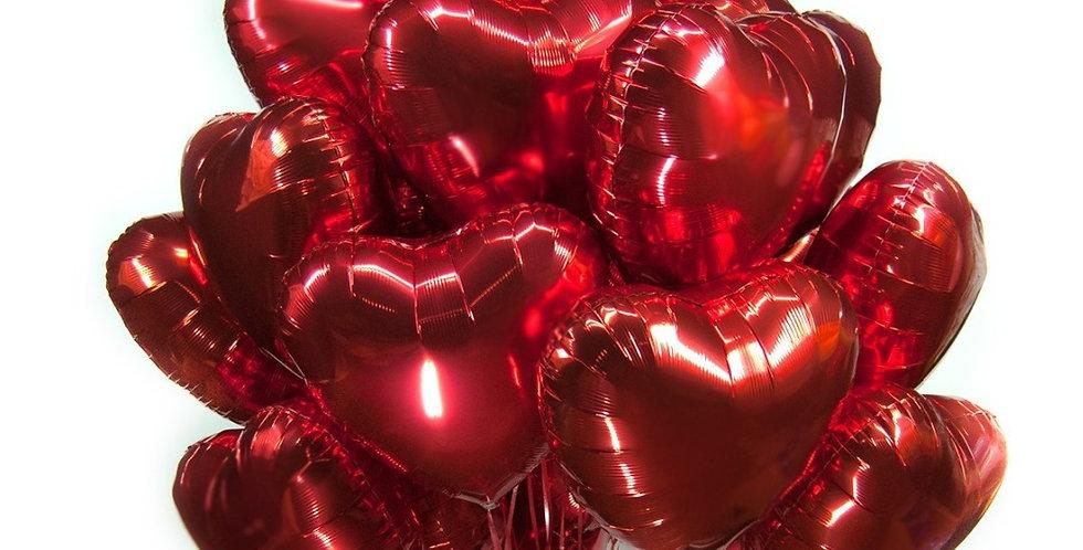13 фольгированных шаров сердце