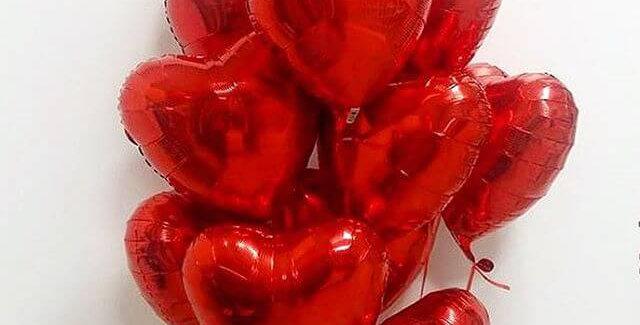 11 фольгированных шаров Сердце