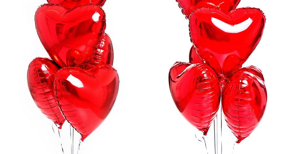 5 фольгированных шаров сердце