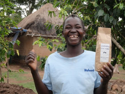 Happy Ugandan coffee farmer