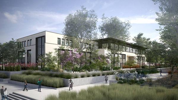 high school gardens wit new classroom architecture