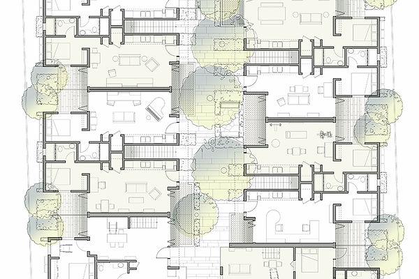 High density walk-up architecture floor plan