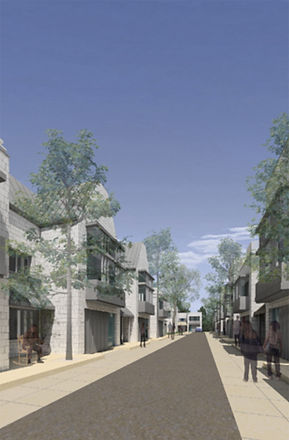 narrow street with townhomes architectural competition
