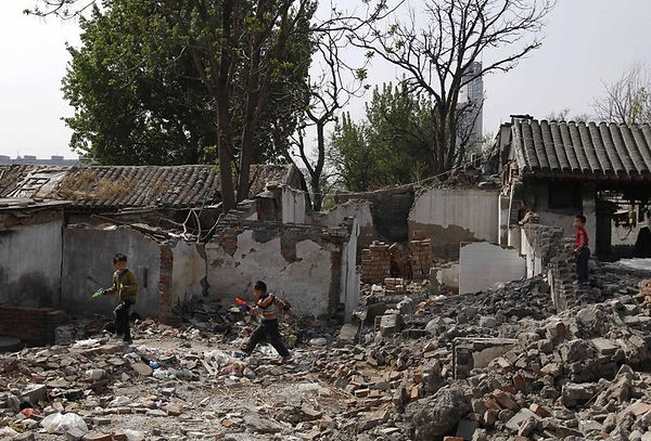 Demolition of courtyard and squatter housing Beijing