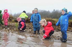Danish forest kindergarten water play