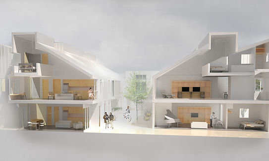 Section perspective dense housing and courtyard
