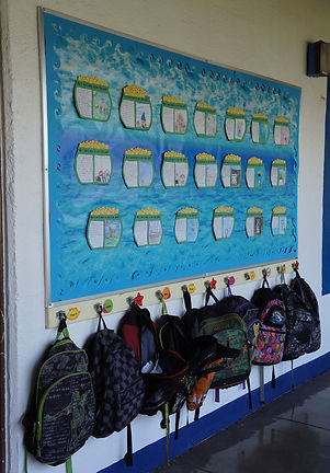 Somis School organization of student identity, backpacks, display