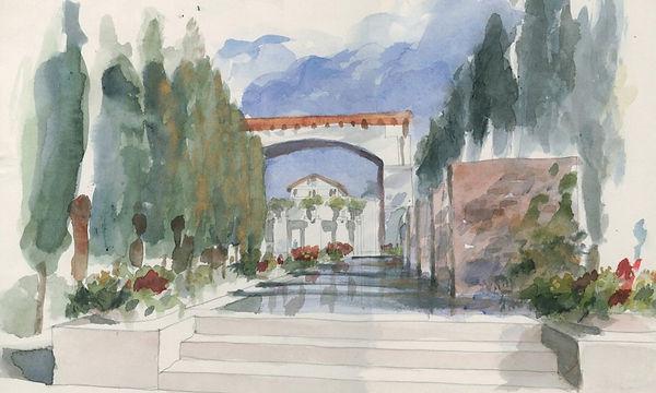 Culver City civic center gardens watercolor