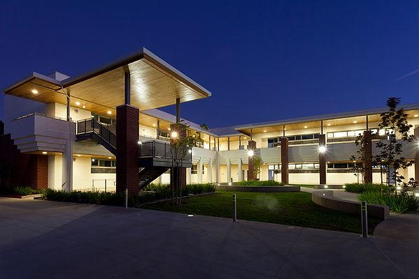 Romantic night view high school classroom building